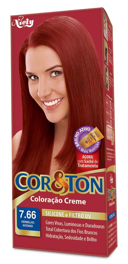 Coloração Cor & Ton Kit 7.66 Louro Médio Vermelho Intenso TINT. COR E TON KIT 7.66 L. MED. VERM. INT.