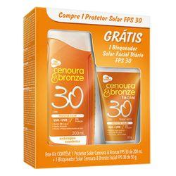 Kit Protetor Cenoura e Bronze FPS 30 e Grátis Protetor Facial