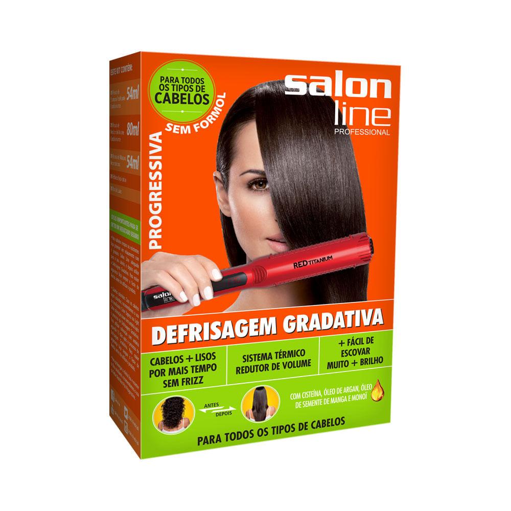 Kit Salon Line Escova Progressiva Defrisagem Gradativa Laranja 188ml