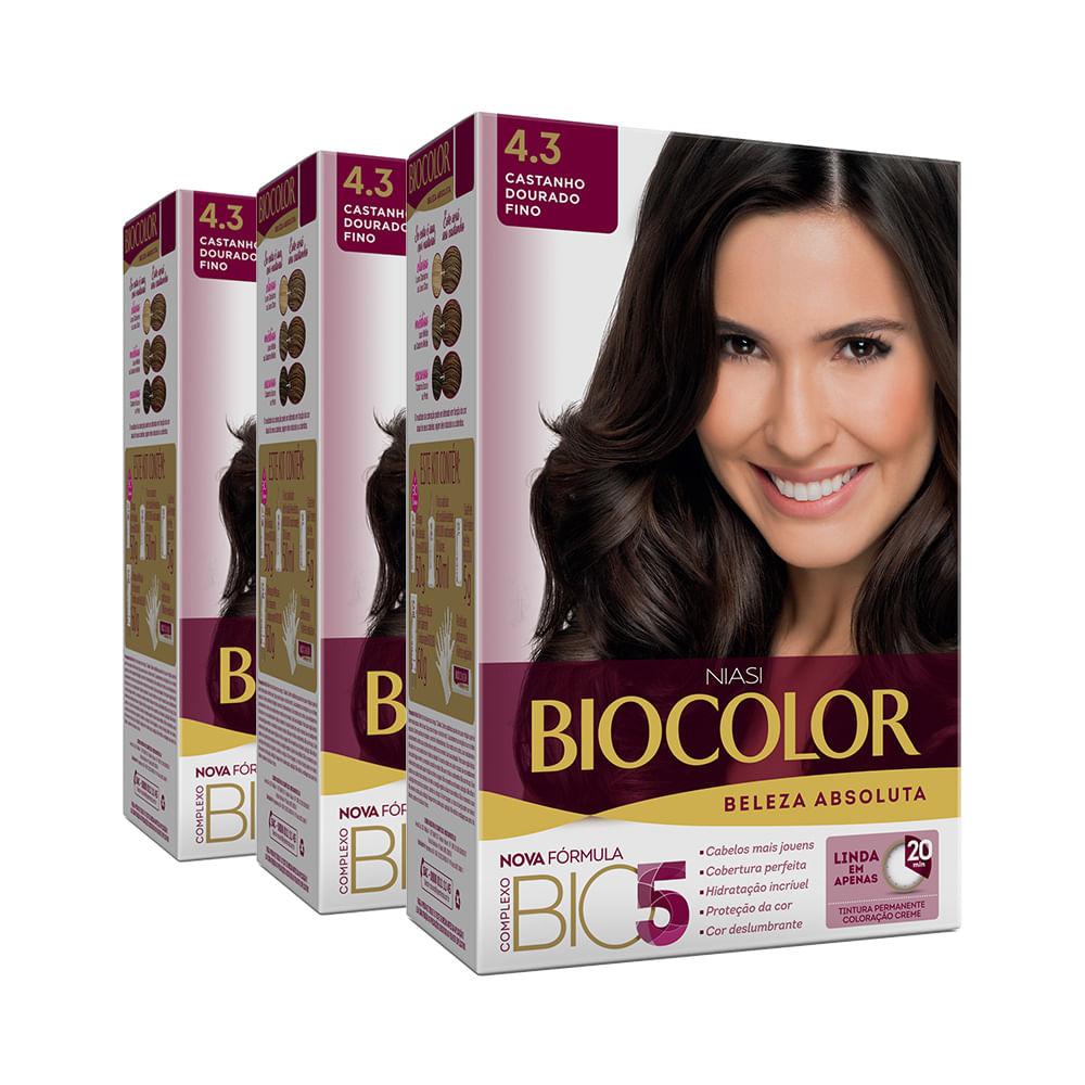 Kit Tintura Biocolor Kit Creme 4.3 Castanho Médio Dourado Leve 3 Pague 2