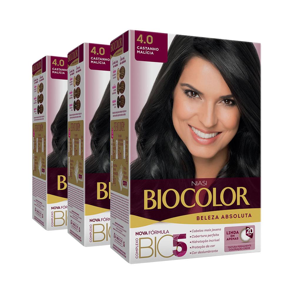 Kit Tintura Biocolor Kit Creme 4.0 Castanho Malícia Leve 3 Pague 2 Kit Tintura Biocolor Kit Creme 4.0 Castanho Médio Leve 3 Pague 2
