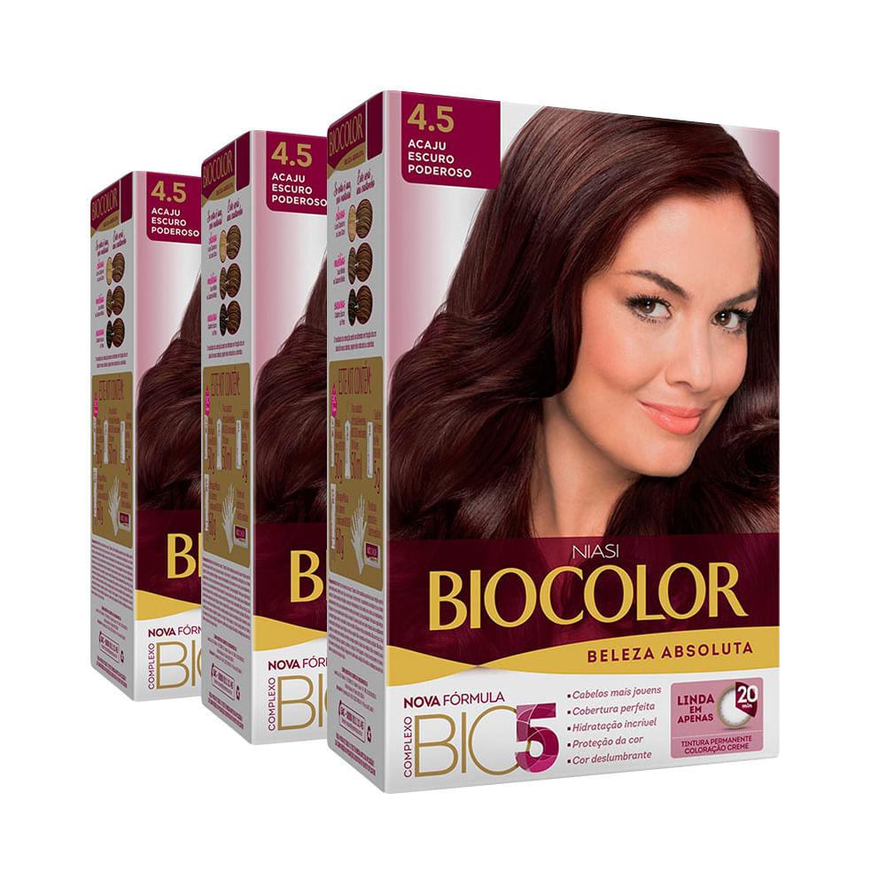 Kit Tintura Biocolor Kit Creme 4.5 Acaju Escuro Poderoso Leve 3 Pague 2 Kit Tintura Biocolor Kit Creme 4.5 Acaju Escuro Leve 3 Pague 2