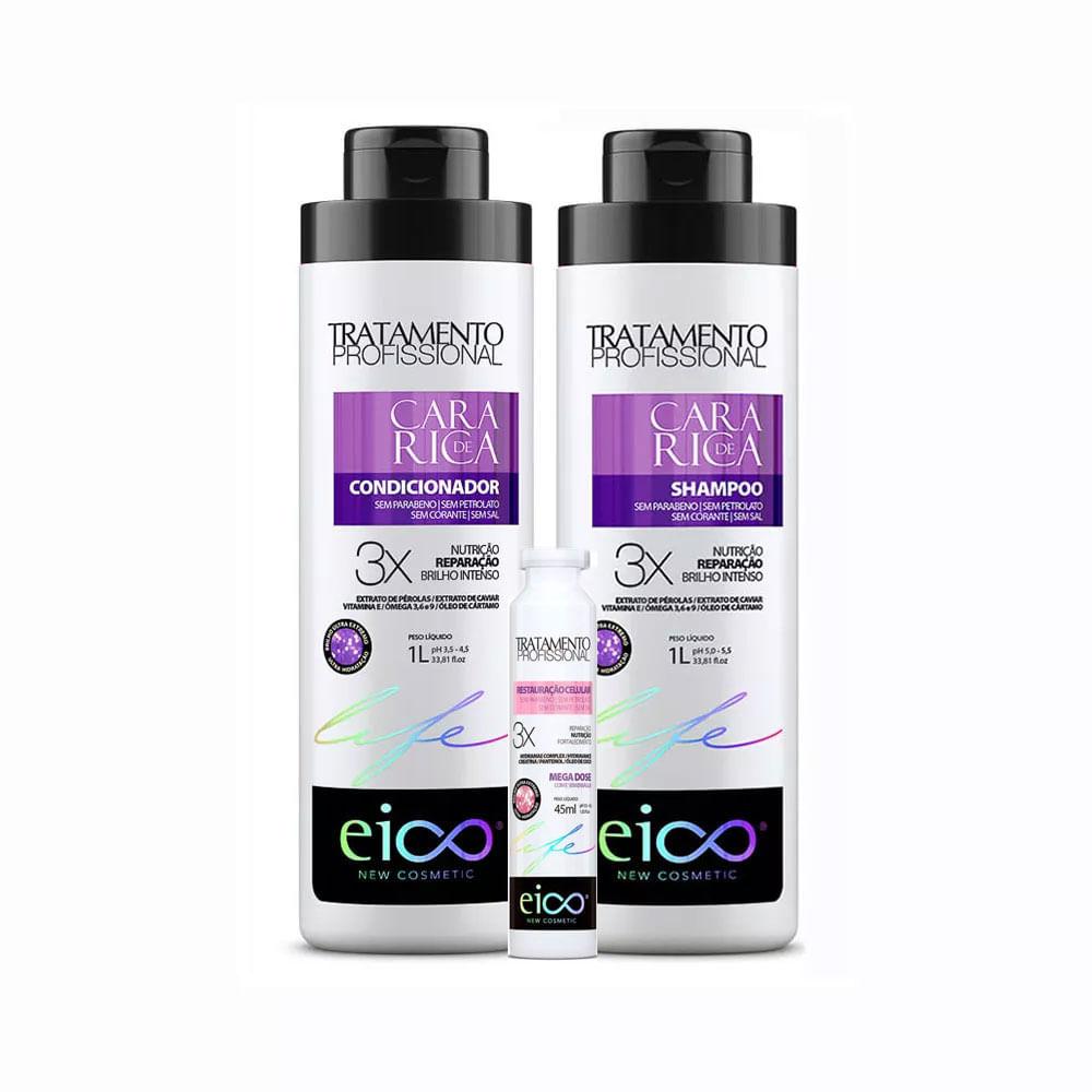 Kit-Eico-Cara-de-Rica-Shampoo---Condicionador-1000ml-Gratis-Ampola-Restauracao