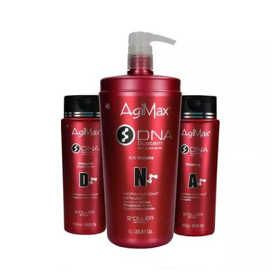 Kit-AgiMax-DNA-Redutor-de-Volume-Shampoo-500ml-Anti-Volume-1L-Finishing-460g