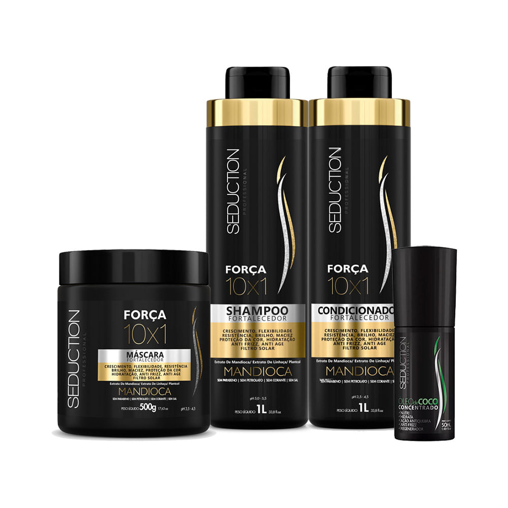 7542bb395 Kit Seduction 10X1 Mandioca Shampoo 1000ml + Condicionador 1000ml + ...