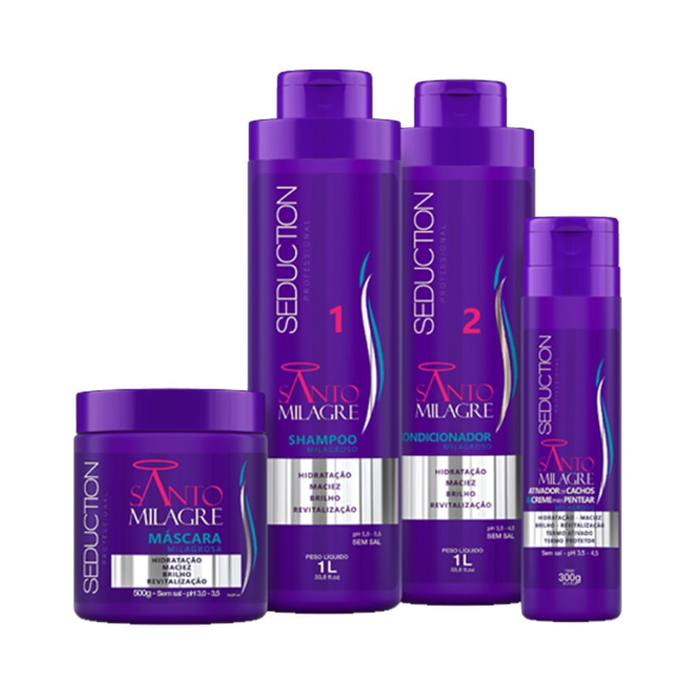 Kit-Seduction-Santo-Milagre-Shampoo-100ml---Condicionador-1000ml---Mascara-500g-Ganhe-Ativador-de-Cachos-300g