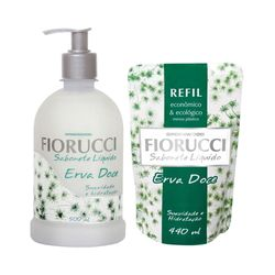 Kit-Sabonete-Liquido-Fiorucci-Erva-Doce-500ml-com-50--de-Desconto-no-Refil-Erva-Doce-440ml