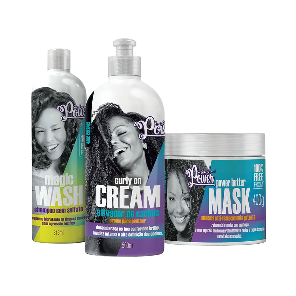 Kit-Soul-Power-Curly-on-Cream-Creme-de-Pentear---Mascara-Gratis-Shampoo-Magic-Wash-315ml
