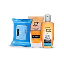Kit-Limpeza-Facial-Neutrogena-Deep-Clean-Rotina-de-Limpeza-p-Pele-Mista---Lenco-de-Limpeza---Limpador-Facial---Gel-de-Limpeza