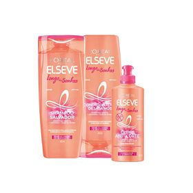 Kit-Elseve-Shampoo---Condicionador-400ml---Creme-de-Petear-250ml-Longo-dos-Sonhos