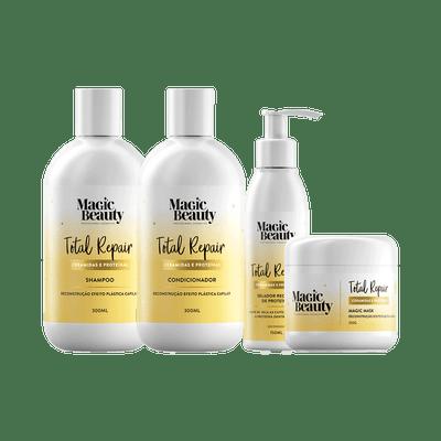 Kit-Magic-Beauty-Shampoo---Condicinador---Mascara---Leave-in-Total-Repair