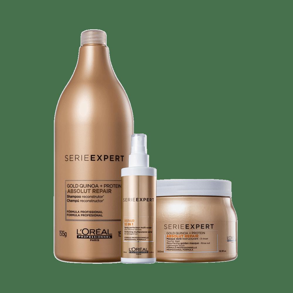 Kit-Serie-Expert-Shampoo-1000ml---Mascara-500g---Serum-Absoluti-Repair-Golg-Quinoa---Protein-140ml