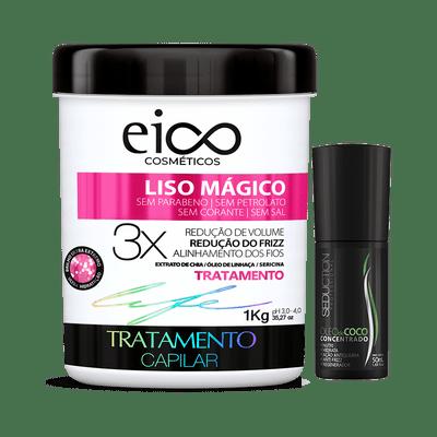 KIt-Eico-Mascara-Liso-Magico-1000g-Gratis-Oleo-de-Coco