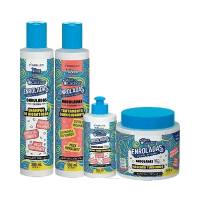 Kit-Novex-Shampoo---Condicionador---Mascara-Gratis-Creme-de-Pentear-Enroladas-Ondulados