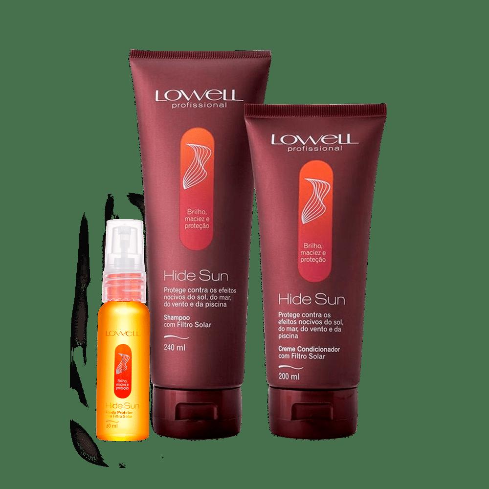 Kit-Lowell-Hide-Sun-Shampoo-240ml-Condicionador-200ml-Fluido-30ml