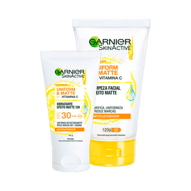 Kit-Garnier-Hidratante---Gel-de-Limpeza-Facial-Uniform---Matte-Vitamina-C